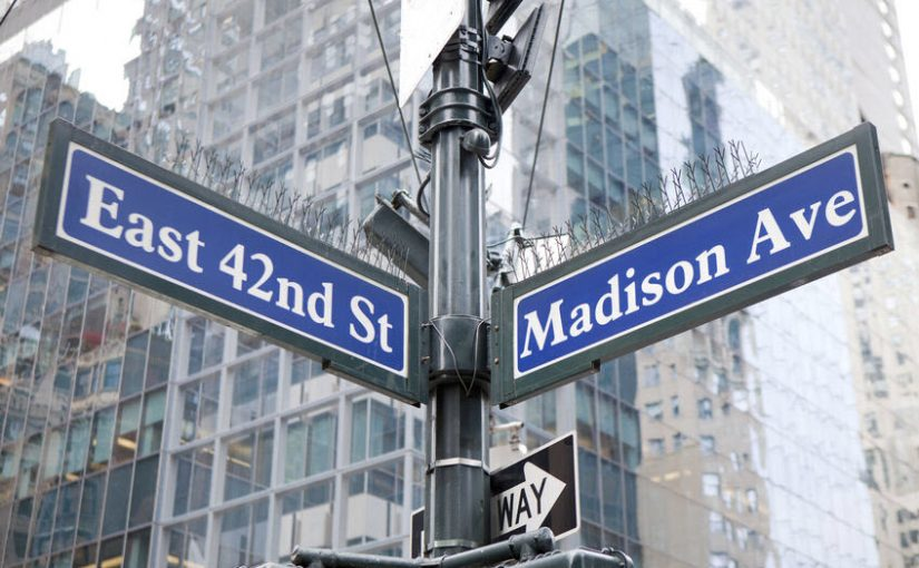 madison avenue street sign image, at the intersection of the collision of PR and marketing